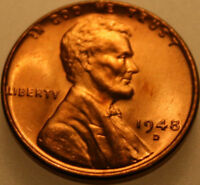 1948 D LINCOLN WHEAT CENT UNCIRCULATED CHOICE RED [SN04]