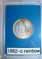 1882 O RAINBOW TONED MORGAN SILVER DOLLAR COLORFUL REVERSE TONING NICE HOLDER