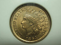 1864 BRONZE INDIAN CENT NGC MS 64 RD RED