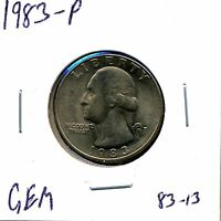 1983 P 25C WASHINGTON QUARTER DOLLAR IN GEM UNCIRCULATED CONDITION 83 13