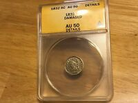 1832 CAPPED BUST HALF DIME ANACS AU 50 DETAILS NICE COIN