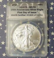 2011 ANACS MS70 FIRST DAY OF ISSUE SILVER EAGLE DOLLAR 1826 1OZ FINE SILVER $1