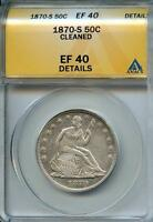 1870 S 50C ANACS EF40 DETAILS XF EXTRA LY FINE SEATED LIBERTY HALF
