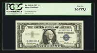 $1 { 1957 } FR 1619 SILVER CERTIFICATE { PCGS 65 PPQ GEM NEW } REPLACEMENT USA