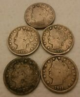LOT OF 5 V NICKELS 1911, 1911, 1902, 1907, 1910 FROM COIN COLLECTION
