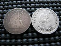 1859 O & 1854 SEATED QUARTERS