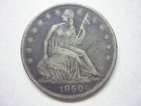 1860 O SEATED LIBERTY HALF.  REPUNCHED O WB105.  EX DICK OSBURN.