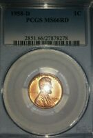 1958 D PCGS MS66RD LINCOLN CENT