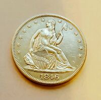 1846 LIBERTY SEATED  HALF DOLLAR  50C SILVER BU    170 YEARS OLD BEAUTY