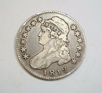 1812 CAPPED BUST/LETTERED EDGE HALF DOLLAR FINE SILVER 50C