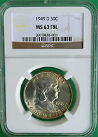 1949 D SILVER FRANKLIN HALF DOLLAR 50C COIN NGC MS63 FBL US COIN R