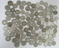 LOT OF 100 OLD BARBER DIMES GOOD MIX 1898 1916  OLD US 10 CENTS