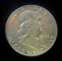 1951 P FRANKLIN HALF DOLLAR CIRCULATED  90  SILVER US COIN