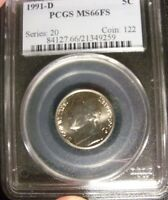 1991 D 5C PCGS MS66FS JEFFERSON NICKEL FULL STEP TOUGH DATE OLD HOLDER