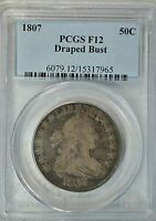 1807 DRAPED BUST HALF DOLLAR, PCGS F12