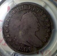 1806 BUST HALF DOLLAR , POINTED 6 , WITH STEM , PCGS VG8