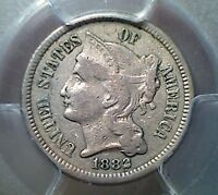 1882  THREE CENT NICKEL   BETTER DATE  PCGS VF30  LOW MINTAGE