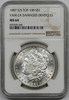 1887-S/S VAM-2A DAMAGED DENTICLES MORGAN SILVER DOLLAR $1 MINT STATE 64  NGC  TOP-100