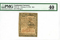 FR CC 21  1776 CONTINENTAL CURRENCY $1/2 PMG XF40