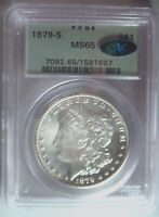 1879-S MORGAN SILVER DOLLARPCGS MINT STATE 65 CACGEM MORGAN IN OLD GREEN HOLDERBEAUTY