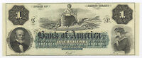 $1 THE BANK OF AMERICA RHODE ISLAND 1860S UNNISUED OBSOLETE BANKNOTE
