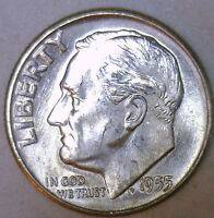 1955 D SILVER UNCIRCULATED BU ROOSEVELT DIME TEN CENT COIN FROM NICE 10C ROLL R
