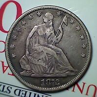 1872 50C LIBERTY SEATED HALF DOLLAR  NICE VF
