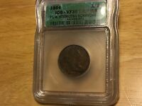 1804 HALF CENT ICG VF30 PL4 STEMLESS DETAILS SHIPS FREE BETTER DATE PENNY