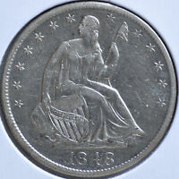 1848 O 50C LIBERTY SEATED HALF DOLLAR NEW ORLEANS ALMOST UNCIRCULATED AU