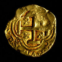 PIRATE GOLD COB SPANISH COLONIAL  DOUBLOON 2 ESCUDOS  NUEVO REINO R 1676