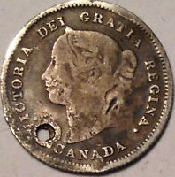 1887 CANADA SILVER 5 CENTS KEYDATE COIN   HOLED/DAMAGED