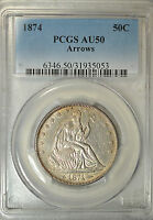1874 SEATED HALF DOLLAR ARROWS AT DATE PCGS AU50