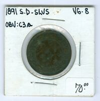 CANADA LARGE CENT: CENT 1891 SD SL GRADE VG 8..CAT:$70