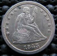 1843 AU SEATED QUARTER