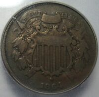 1864 ICG VG8 SMALL MOTTO TWO CENT PIECE,  DETAILS, SHIPS FREE