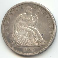 1840 SEATED LIBERTY HALF DOLLAR,SMALL LETTERS,REVERSE OF 1839,SHARP AU DETAIL