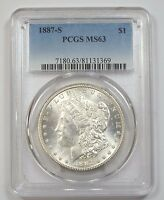 1887-S MORGAN DOLLAR CERTIFIED PCGS MINT STATE 63 SILVER $