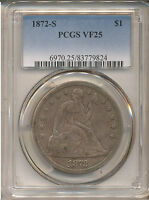 1872 S SEATED LIBERTY DOLLAR VF25 PCGS   TOTAL MINTAGE 9,000