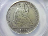 1890 SEATED LIBERTY HALF DOLLAR ANACS F15 SOLID FINE SEE DESC