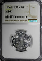 INDIA REPUBLIC ALUMINUM MAGNESIUM 1974 9  C  10 PAISE NGC MS64