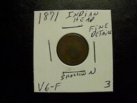 VERY  1871 INDIAN HEAD PENNY WITH FINE DETAILS
