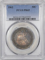 1862 PROOF LIBERTY SEATED HALF DOLLAR PCGS PR 65. THE REEDED EDGE