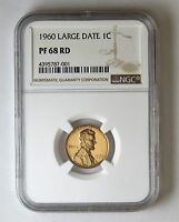 1960 PROOF LARGE DATE LINCOLN 1C NGC PF 68 RD