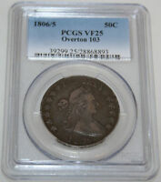 1806/5 DRAPED BUST HALF DOLLAR PCGS VF25 28868893