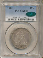 1844 SEATED LIBERTY HALF XF45 PCGS CAC  WB 8 R 4