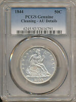 1844 SEATED LIBERTY HALF AU DETAILS CLEANING PCGS   WB 14 R 3