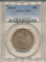1861 S SEATED LIBERTY HALF VF35 PCGS  WB 3 R 3