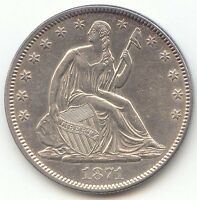 1871 SEATED LIBERTY HALF DOLLAR LUSTROUS AU UNC DETAILS