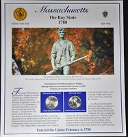 2000 MASSACHUSETTS STATE QUARTERS /STAMPS PANEL BY POSTAL COMMEMORATIVE SOCIETY