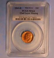 1969 D PCGS MS64 MISSING CLAD LAYER ROOSEVELT DIME MINT ERROR 10 CENT COIN